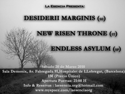 A cold Dark Ambient Night with DESIDERII MARGINIS + NEW RISEN THRONE + ENDLESS ASYLUM